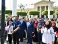 وزير التعليم العالي ورئيس جامعة القاهرة يشهدان تحية العلم بحرم الجامعة