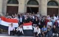 مشاركة طلاب واعضاء هيئة تدريس وموظفي جامعة القاهرة في الاستفتاء على التعديلات الدستورية.